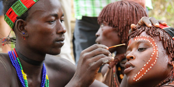 Traditional Face Painting, Hamer Tribal People, Omo Valley, Ethiopia