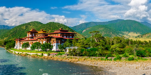Panorama of Punakha Dzong and Valley of Pho Chhu (Pho River), former capital of Bhutan