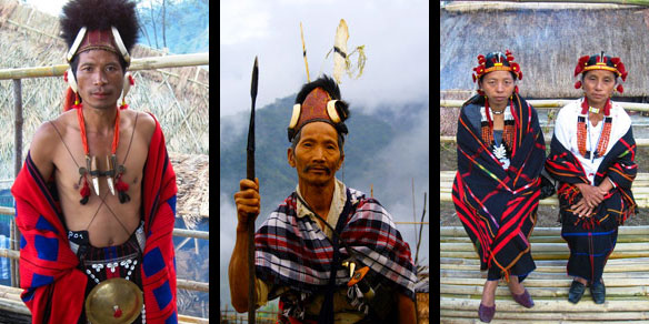Proud Naga tribal people in traditional attire, Nagaland, India