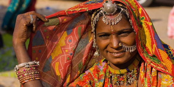 Portrait of a Rajasthani woman, India