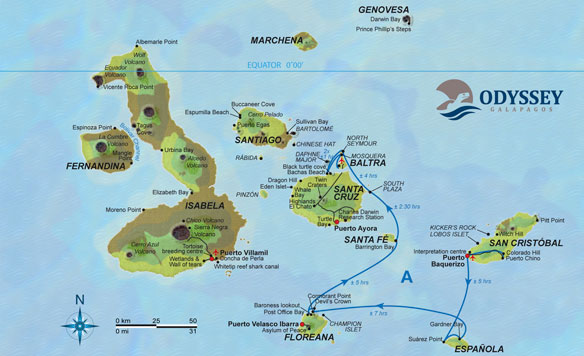 Map MV Odyssey, Galapagos Cruise Extension Option 1, 6 Days/5Nights