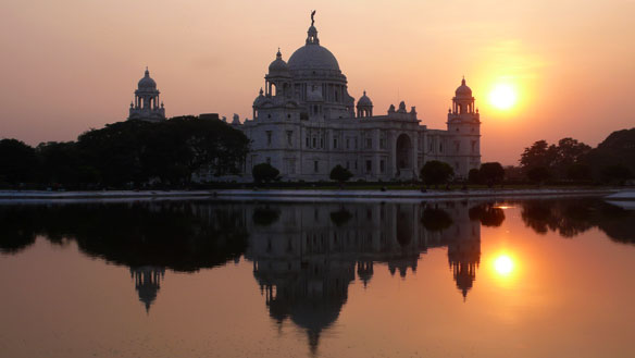 Victoria Memorial architectural monument and museum at sunset. Kolkata, India