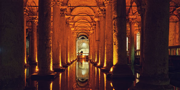 Cisterna Basilica, largest of several hundred ancient cisterns beneath the city of Istanbul, Turkey