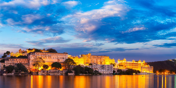 Panorama of Udaipur City Palace at sunset, Udaipur, India