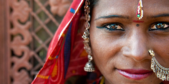 Portrait of a Rajasthani woman, Rajasthan, India,