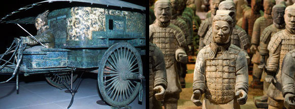 Imperial Carriage made from Jade and Terracotta Warriors, China