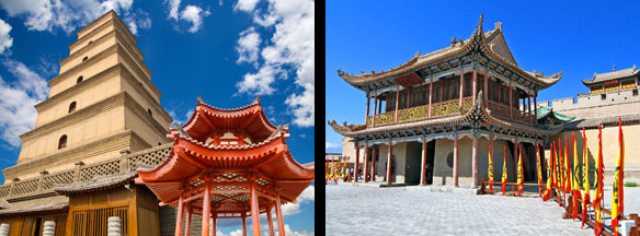 Giant Wild Goose Buddhist Pagoda, southern Xian, Shaanxi province, China and Tower of Jiayuguan Castle, Gansu of China