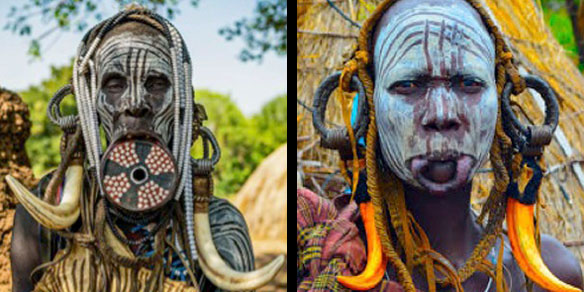 People from the Mursi Tribe, Omo Valley, Ethiopia
