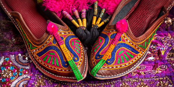 Colorful ethnic shoes and camel decorations, Rajasthan, India