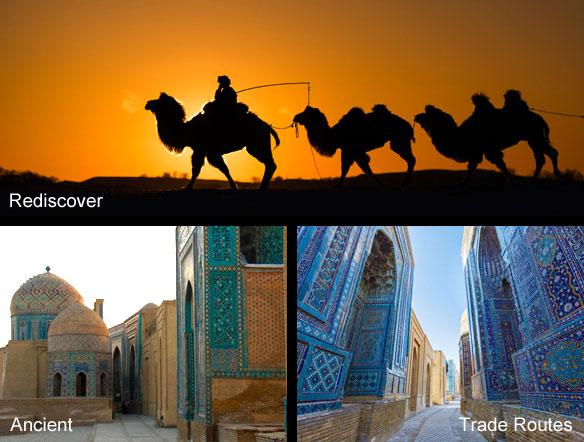 Camels at sunset and beautiful mosques in Samarkand, Uzbekistan